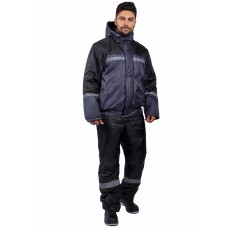 Куртка зимняя укороченная Стандарт (тк.Оксфорд), т.серый/черный