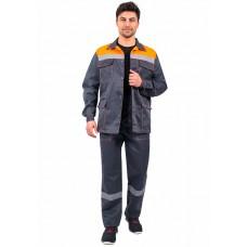 Костюм Партнер брюки, т.серый/оранжевый