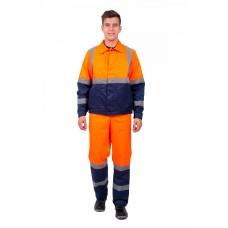 Костюм мужской Дорожник с укороченной курткой (тк.Смесовая,210) п/к, оранжевый/т.синий