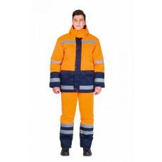 Костюм мужской зимний Дорожник (тк.Смесовая,210) брюки, оранжевый/т.синий