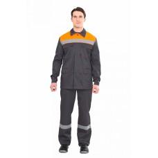 Костюм Партнер (брюки), т.серый/оранжевый