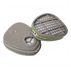 6541 Фильтр противогазовый Jeta Safety для защиты от органических, неорганических, кислых газов и аммиака класса A1E1B1K1, в упаковке 2 шт