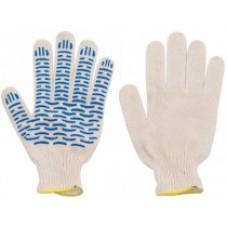 """Перчатки вязаные 4 нити, х/б ПВХ, """"Волна"""""""