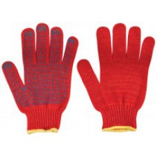 Перчатки вязаные утепленные красные х/б с ПВХ