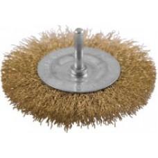 Корщетка дисковая прямая, со шпилькой, стальная латунированная проволока, 50 мм