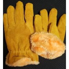 Перчатки зимние спилковые «Драйвер» жёлый мех