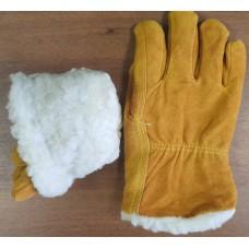 Перчатки зимние спилковые «Драйвер» белый мех