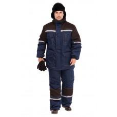 Костюм зимний Азимут (тк. Смесовая, 200) брюки ПРАБО, т.синий/черный (Кос204)