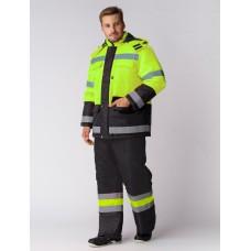 Костюм зимний Дорожник (Оксфорд) брюки, лимонный/черный