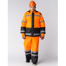 Костюм зимний Дорожник (Оксфорд) брюки, оранжевый/черный