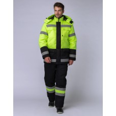 Костюм зимний Дорожник (Смесовая, 210) брюки, лимонный/черный