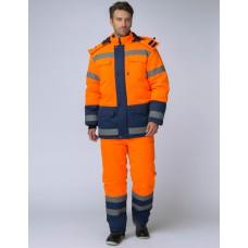 Костюм зимний Дорожник (Смесовая, 210) брюки, оранжевый/темно-синий