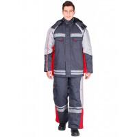 Костюм зимний Факел (Балтекс, 235) брюки, темно-серый/красный