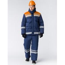 Костюм зимний Горизонт-Люкс (Смесовая, 210) брюки, темно-синий/оранжевый
