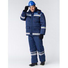Костюм зимний Горизонт-Люкс (Смесовая, 210) брюки, темно-синий/васильковый