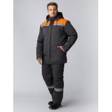 Костюм зимний Партнер NEW (Смесовая, 210) п/к, темно-серый/оранжевый