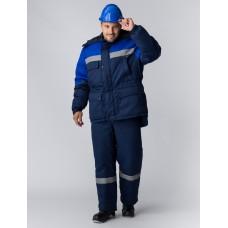 Костюм зимний Сибер Виндстоп СОП (Таслан) п/к, темно-синий/васильковый