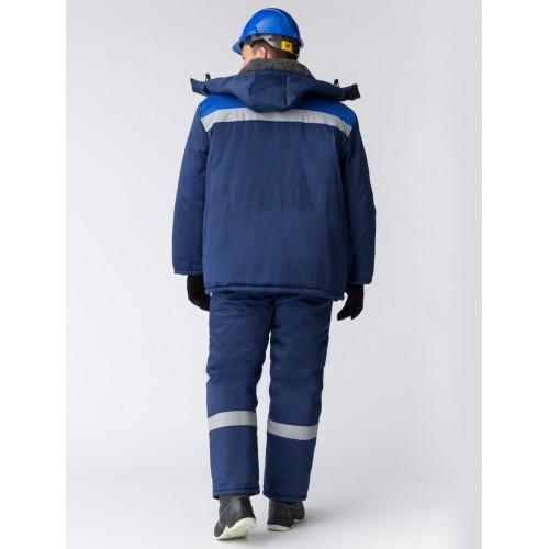 Костюм зимний Труженик-Ультра (Смесовая, 210) брюки, темно-синий/васильковый