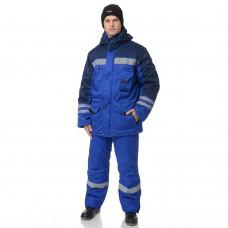 Костюм зимний Зима (тк. Смесовая, 210) брюки ПРАБО, васильковый/т.синий (Кос205)