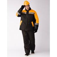 Куртка зимняя Стандарт (тк.Оксфорд), черный/оранжевый
