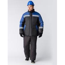 Куртка зимняя Стандарт (тк.Оксфорд),  черный/васильковый