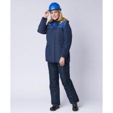 Куртка зимняя женская Снежана (тк. Таслан), т. синий/васильковый