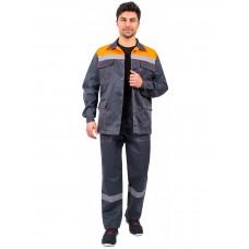 Костюм Партнер NEW (тк.Смесовая,210) брюки, т.серый/оранжевый
