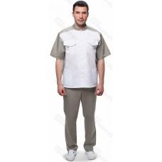 Костюм мужской №703 (тк.ТиСи) DoctorBIG, белый/серый (0/34/34)