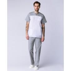 Мужской костюм Стоматолог (ткань ТиСи), серый/белый