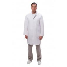Халат мужской №550 (тк.ТиСи) DoctorBIG, белый/серый (0/34)