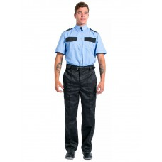 Рубашка охранника на резинке с коротким рукавом мужская, голубой