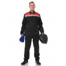 Костюм сварщика Титан Комфорт 1 кл.защиты (тк.100% хб,320), черный/красный