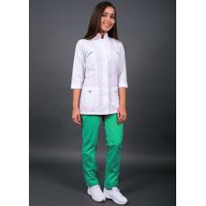 Костюм женский №415 (тк.ТиСи) DoctorBIG, белый/салатовый