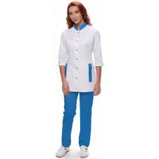 Костюм женский №448 (тк.ТиСи) DoctorBIG, белый/голубой
