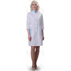 Халат женский №248 DoctorBIG, белый/голубой