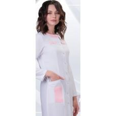 Халат женский №276 DoctorBIG, белый/розовый