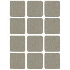 Подкладки для мебели самоклеющиеся квадратные 25 х 25 мм, 12 шт, войлок