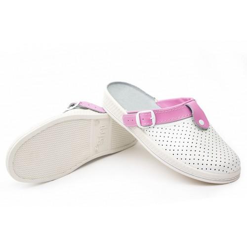 Сабо женские нат.кожа Комфорт ПВХ, цвет белый/розовый